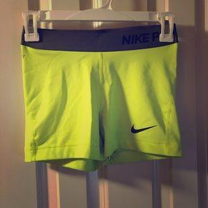 Neon yellow Nike pro spandex